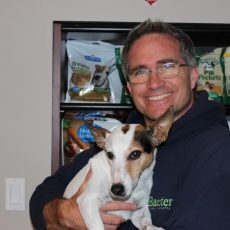Dr. Tim Blatt Veterinarian at Baxter Animal Hospital with dog