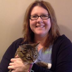 Rhonda Piche Ranta Senior Client Care Representative at Baxter Animal Hospital with cat